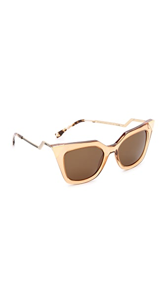 Fendi Iridia Corner Accent Sunglasses - Transparent Champagne/Brown at Shopbop