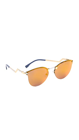 Fendi Iridia Rimless Bottom Sunglasses - Gold/Multi Layer Gold at Shopbop