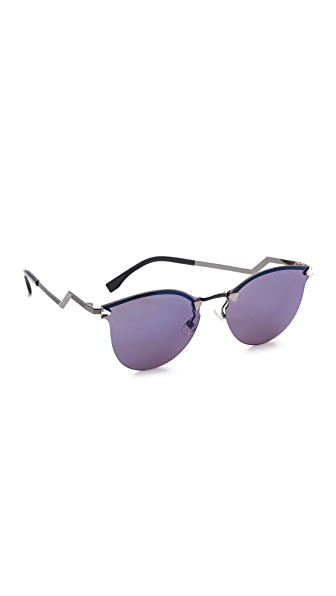 Fendi Iridia Rimless Bottom Sunglasses - Dark Ruthenium/Blue Sky at Shopbop