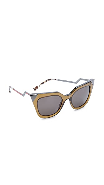 Fendi Iridia Corner Accent Sunglasses - Trans Olive/Brown Grey at Shopbop