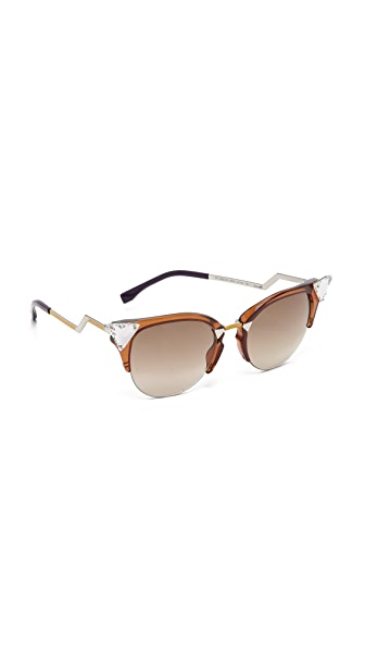Fendi Crystal Corner Sunglasses - Brown/Brown at Shopbop