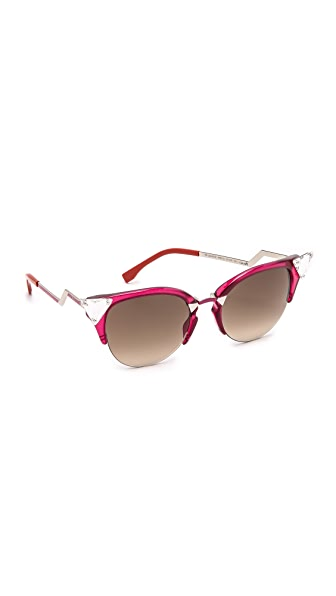 Fendi Crystal Corner Sunglasses - Cherry Red/Brown Gradient at Shopbop