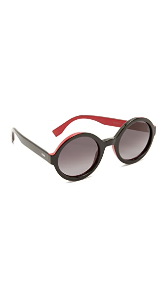 Fendi Color Flash Round Sunglasses - Black/Grey at Shopbop