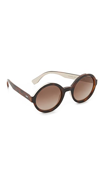 Fendi Color Flash Round Sunglasses - Havana/Brown at Shopbop