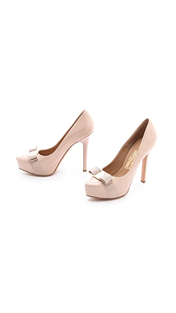 Salvatore Ferragamo Trilly Platform Pumps with Bow