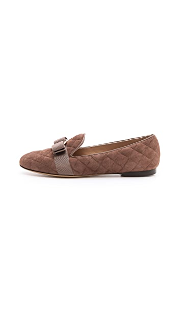 Salvatore Ferragamo Scotty Suede Smoking Slippers