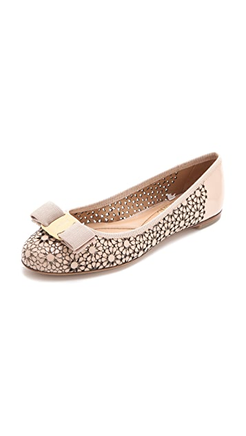 Salvatore Ferragamo Shelly Laser Cut Ballet Flats