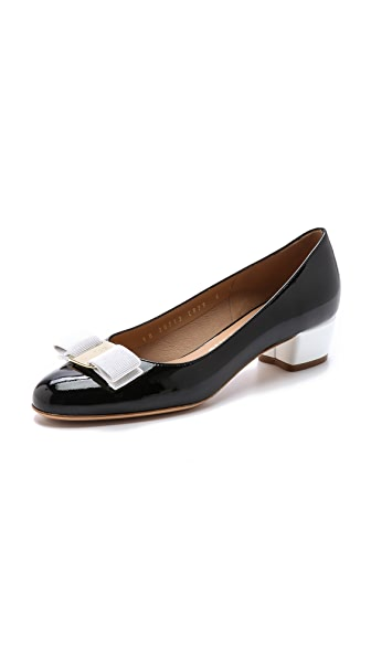 Salvatore Ferragamo Vara Colorblock Low Pumps