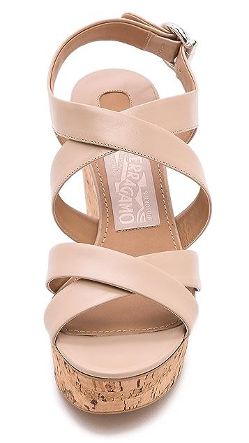 Salvatore Ferragamo Persy Cork Wedge Sandals