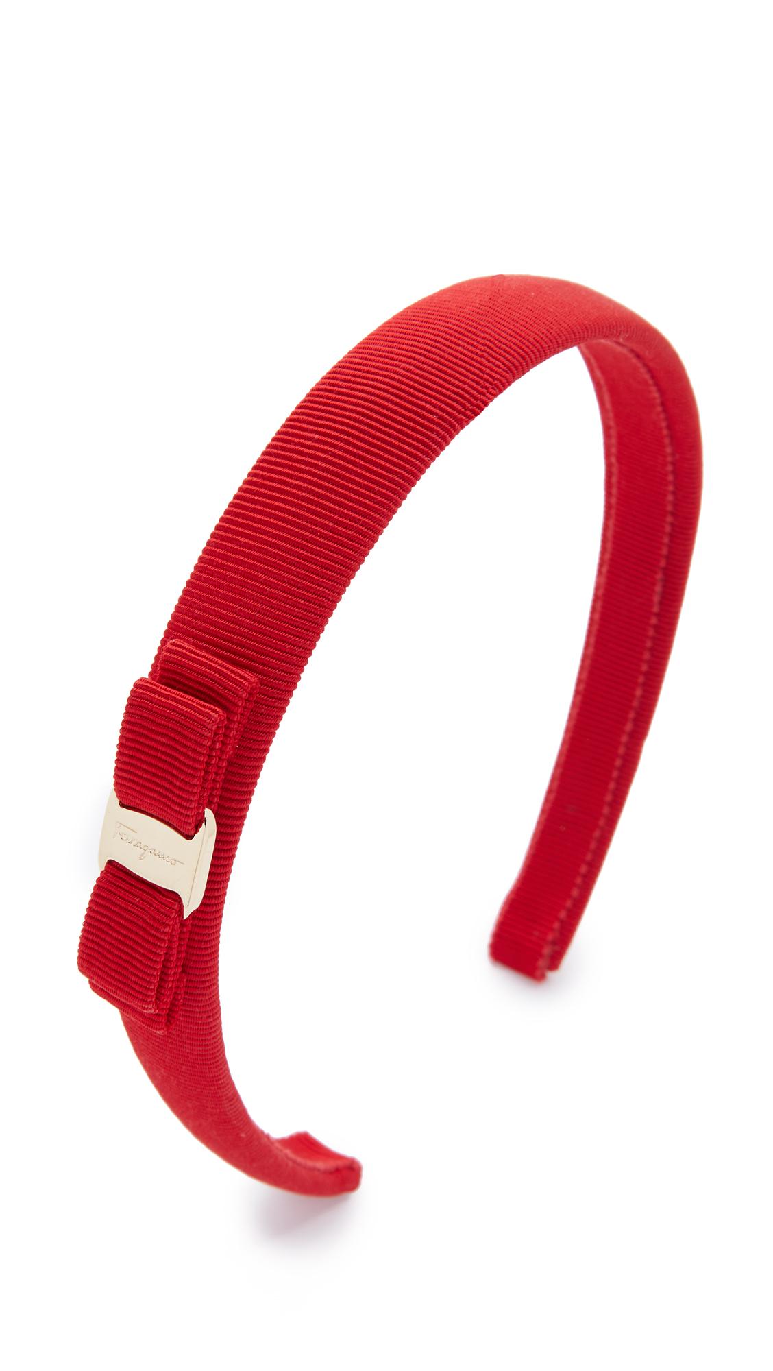 Salvatore Ferragamo Vara Bow Thin Headband In Rosso