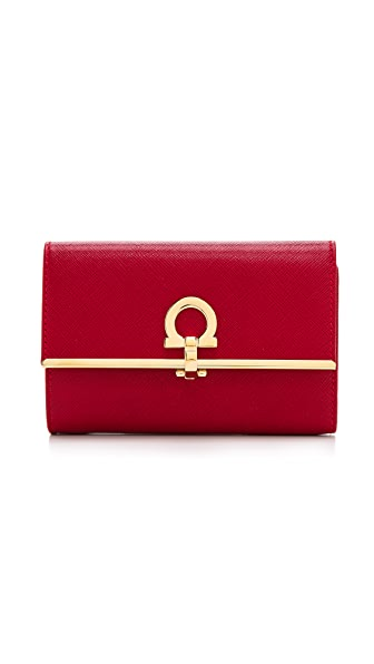 Salvatore Ferragamo Gancini Icona Vitello Flap Wallet