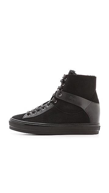 Salvatore Ferragamo Nicky Shearling High Top Sneakers