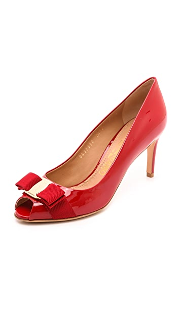 Salvatore Ferragamo Pola Peep Toe Pumps