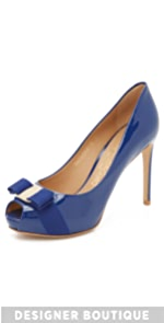 Plum Peep Toe Pumps                Salvatore Ferragamo