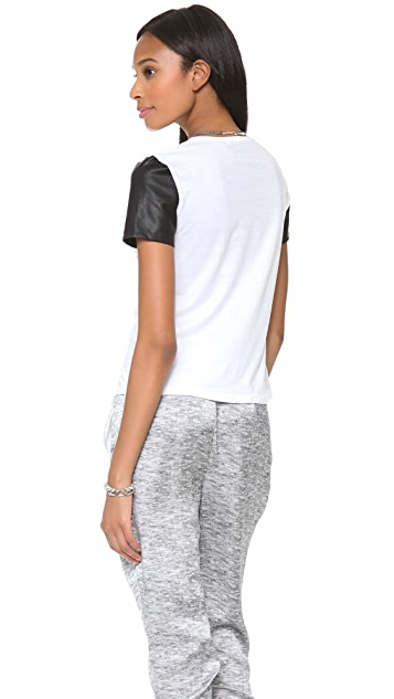 5th & Mercer T-Shirt with Pleather Sleeves