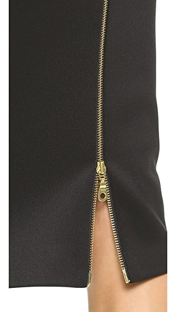 5th & Mercer Faux Leather & Jersey Skirt