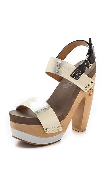 Flogg Rexfort Metallic Platform Clog Sandals