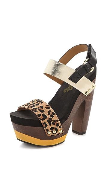 Flogg Rexfort Haircalf Platform Clog Sandals