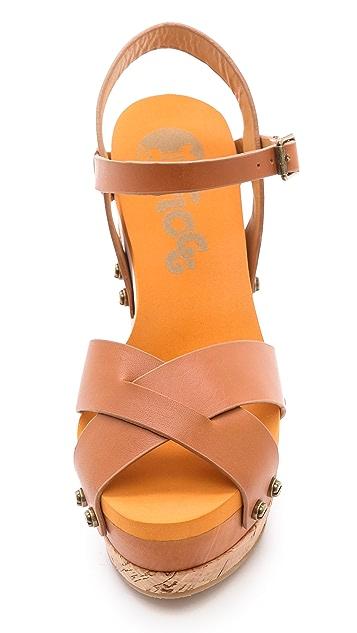 Flogg Lexi Cork Wedge Sandals