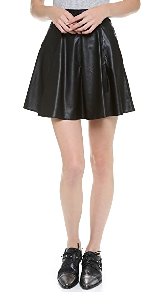 For Love & Lemons Preppy Vegan Leather Skirt