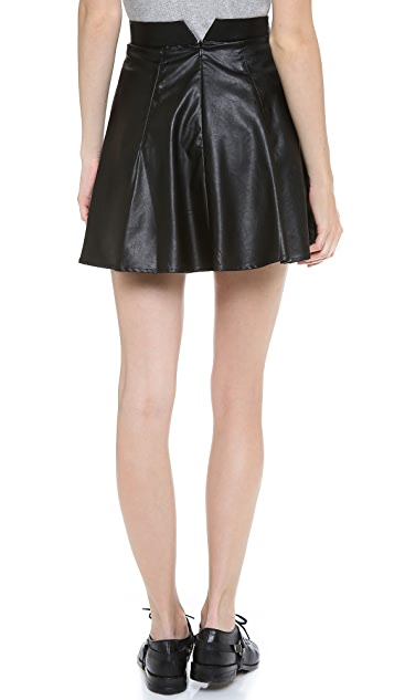 For Love & Lemons Preppy Vegan Leather Skirt