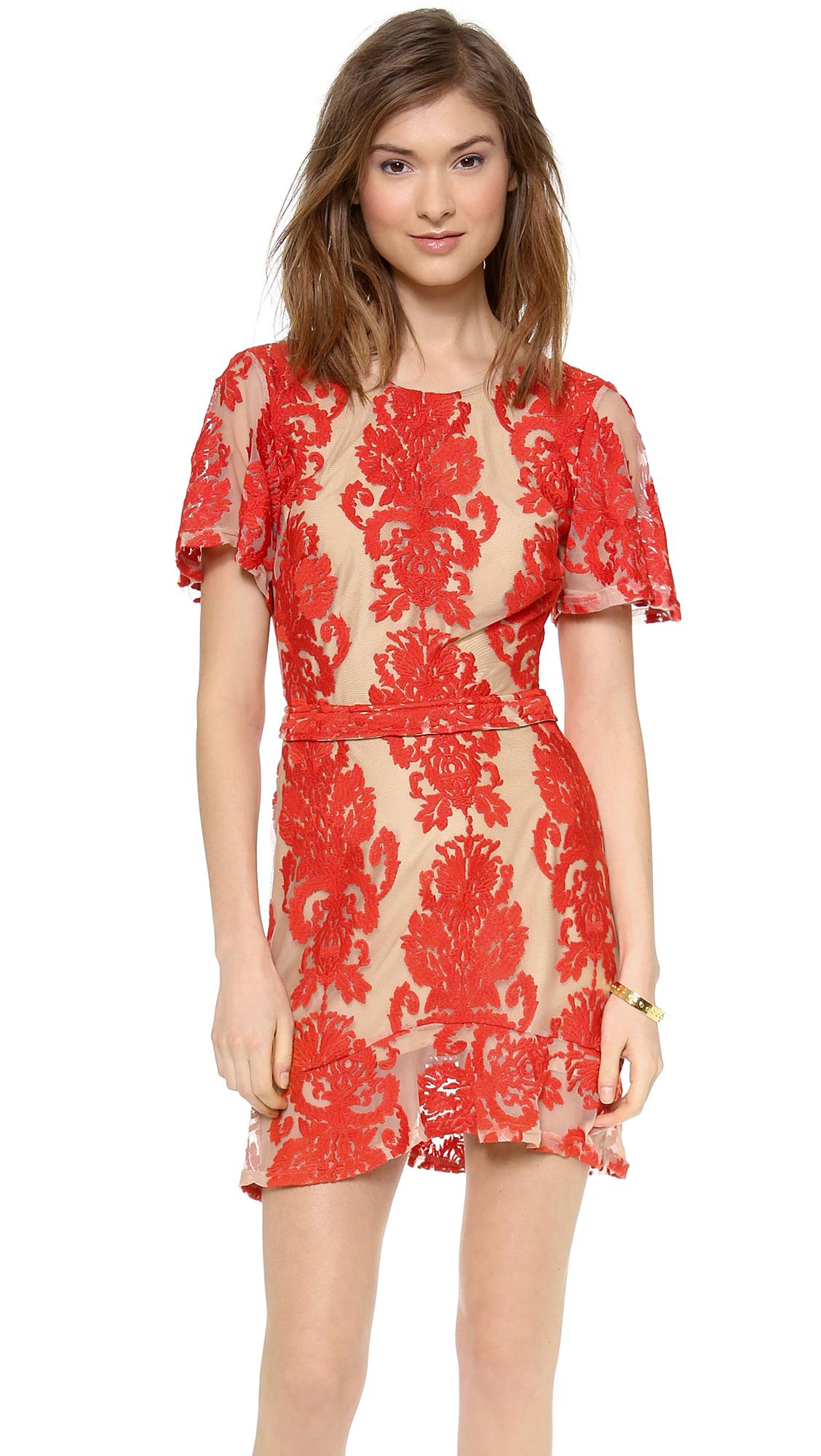 For Love & Lemons San Marcos Mini Dress - Red
