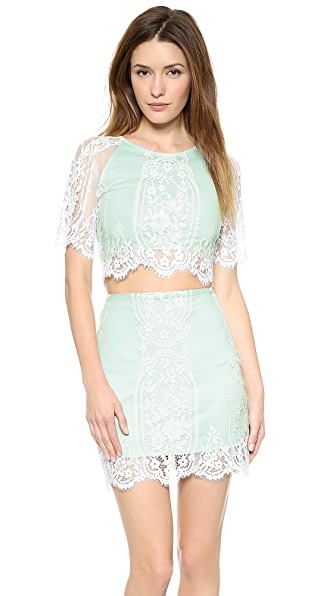 For Love & Lemons Wild Flower Lace Crop Top