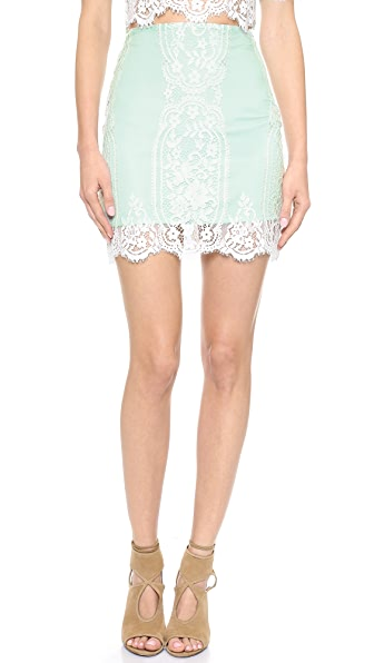 For Love & Lemons Wild Flower Lace Skirt