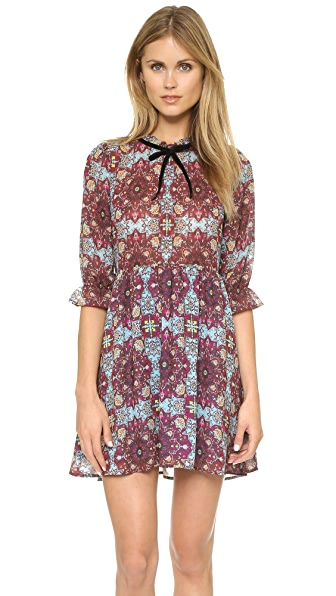 For Love & Lemons Geneva Mini Dress - Cornflower Blue Print
