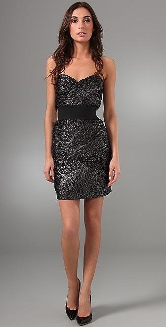 Foley + Corinna Metallic Lace Strapless Dress
