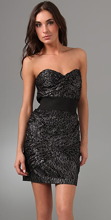 Foley + Corinna Metallic Lace Strapless Dress