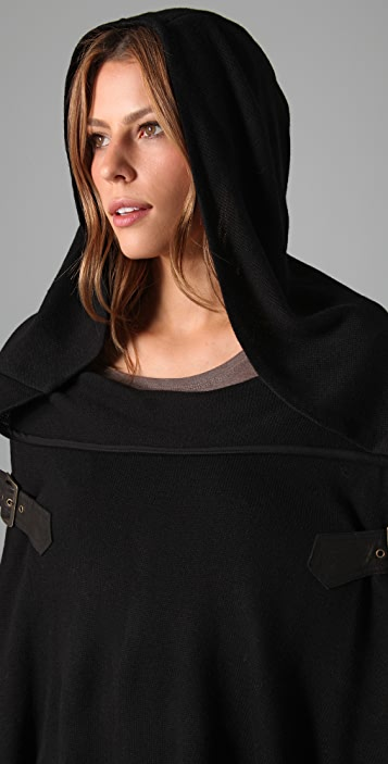 Foley + Corinna Knit Poncho with Leather Buckles