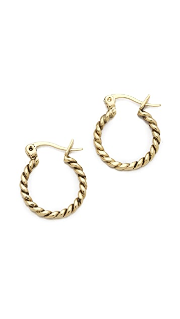 Fortune Favors the Brave Small Rope Hoop Earrings