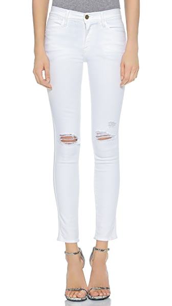 FRAME Le High Skinny Ripped Jeans
