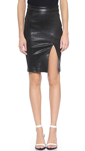 FRAME Le High Leather Pencil Skirt