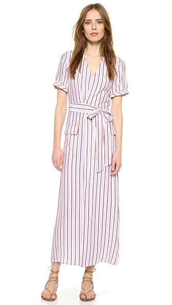 Frame Le Wrap Tie Dress - Navy & Red Stripe