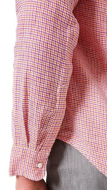 Frank & Eileen Small Check Linen Sport Shirt