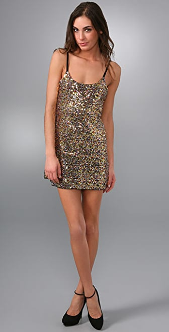 Free People Confetti Sequin Mesh Slip Dress