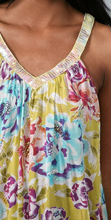 Free People Sequin Floral Trapeze Tank