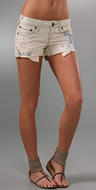 Free People Patchwork Rugged Cutoff Shorts