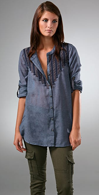 Free People Rise & Shine Button Down Shirt