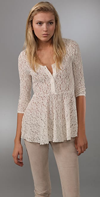 Free People Ooh La La Lace Top
