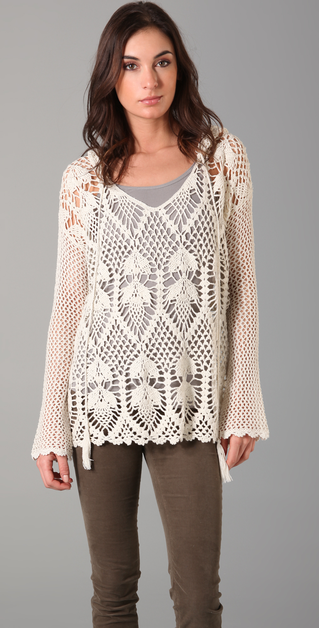 Free People Pacifica Crochet Hooded Sweater | SHOPBOP