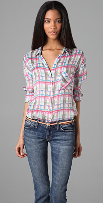Free People Plaid Dobby Blouse
