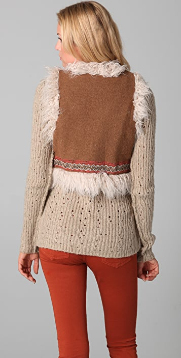 Free People Woolie Knit Reversible Fur Vest