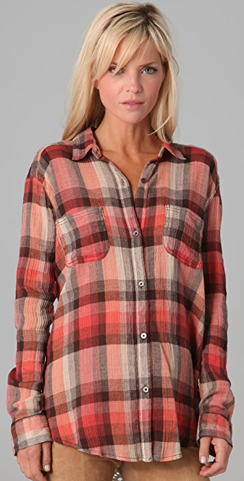 Free People Plaid Road Trip Button Down