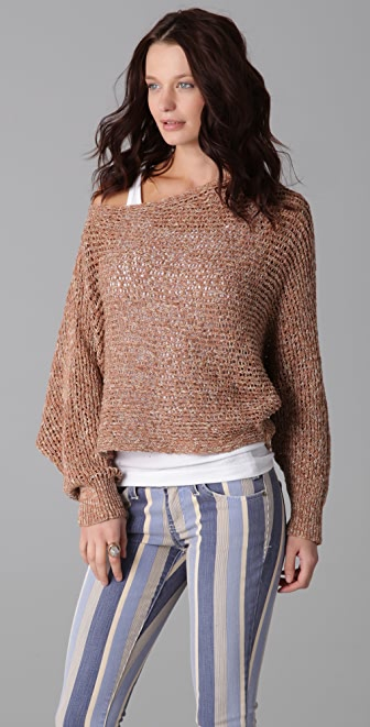 Free People Sunday Smile Horizontal Rib Pullover