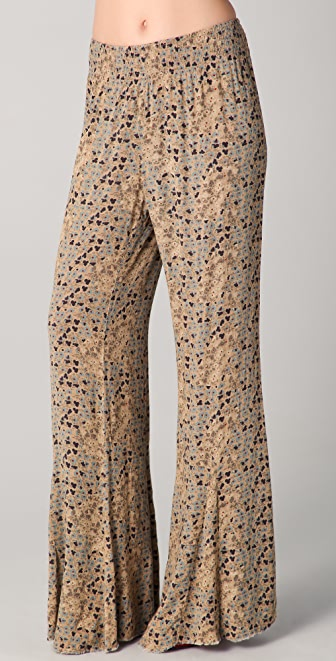 Free People Printed Wide Leg Pull On Pants