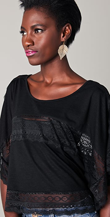 Free People Lace Inset Cropped Tee