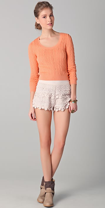 Free People Cable Guy Cropped Pullover